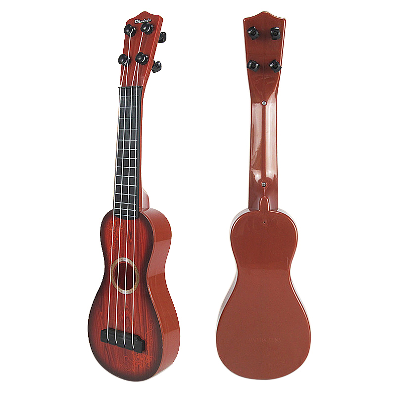 Musical Instrument Toy 4 Strings Small Guitar Ukulele for Beginners Kids - Brown