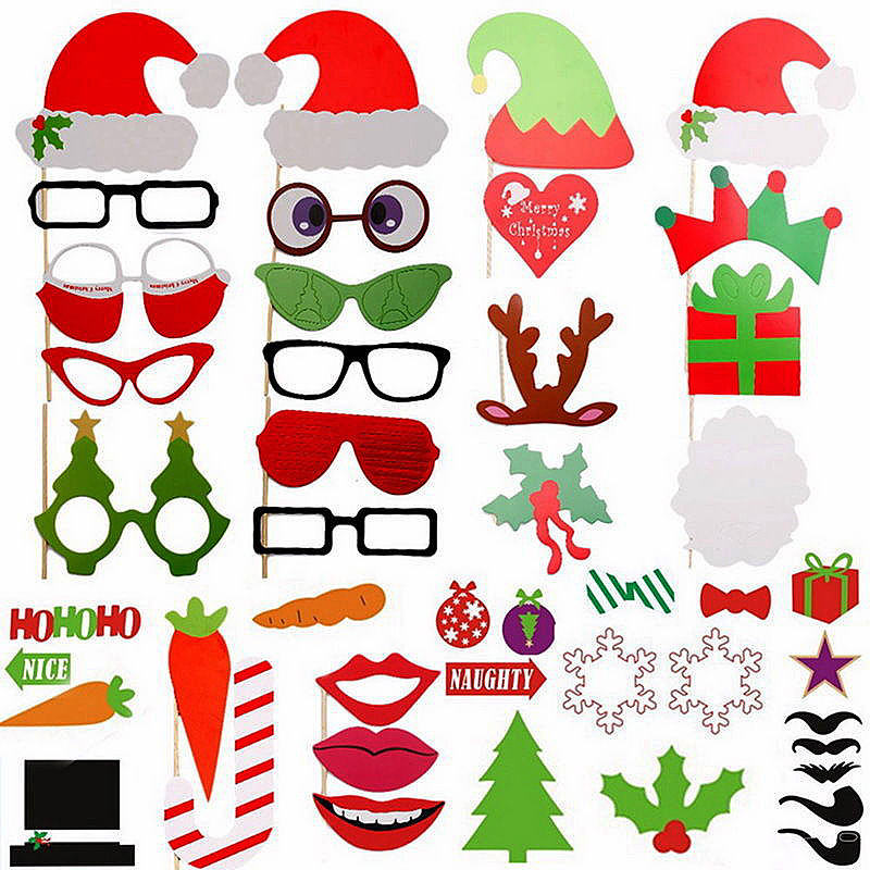 50pcs DIY Photo Booth Props Mustache Wedding Birthday Christmas Party