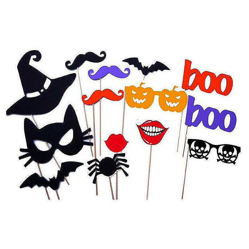 14pcs Halloween Ghost Boo Party Wedding Birthday Photo Booth Props