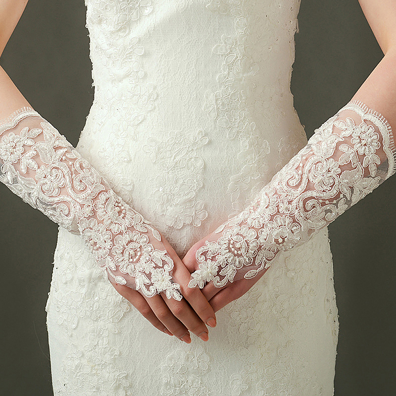 Luxury Bridal Lace Satin Beads Flower Wedding Dress Gloves