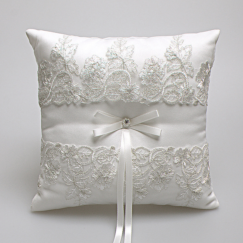 Elegant European Satin Square Lace Ring Pillow with Ribbon Bow