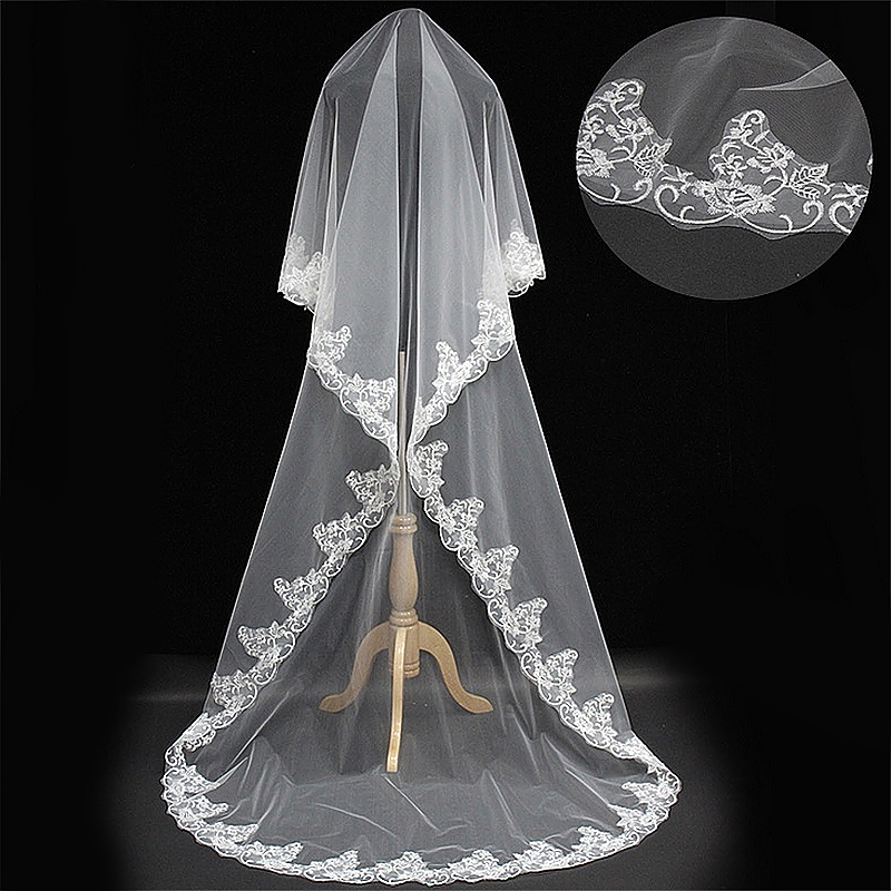 Elegant Beige Lace Edge Wedding Bridal Veil