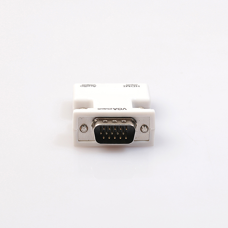 1080P HDMI Female to VGA Male Converter Adapter with 3.5mm Audio Output - White