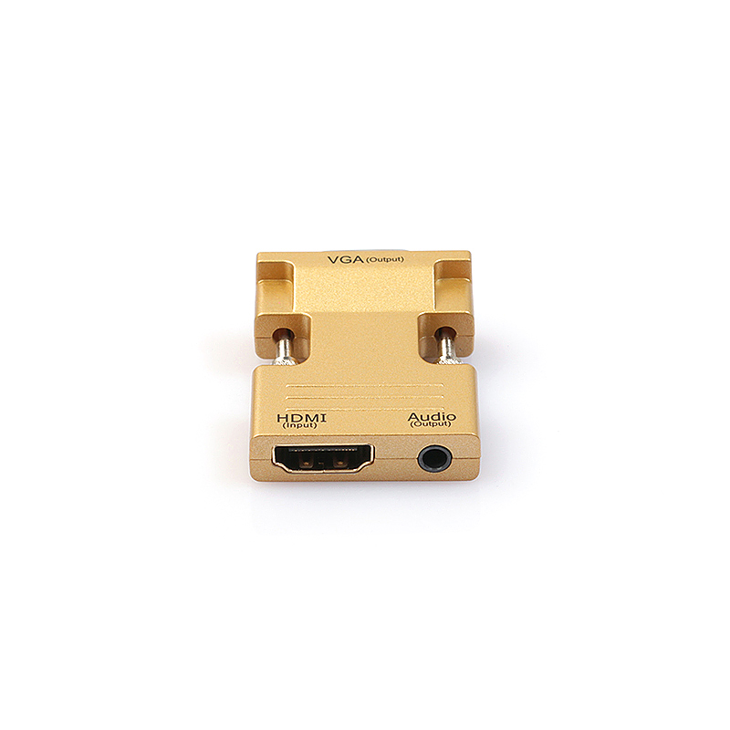 1080P HDMI Female to VGA Male Converter Adapter with 3.5mm Audio Output - Gold