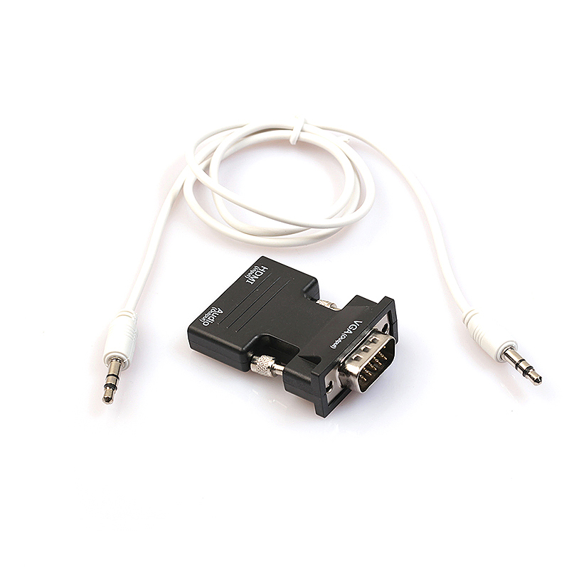 1080P HDMI Female to VGA Male Converter Adapter with 3.5mm Audio Output - Black