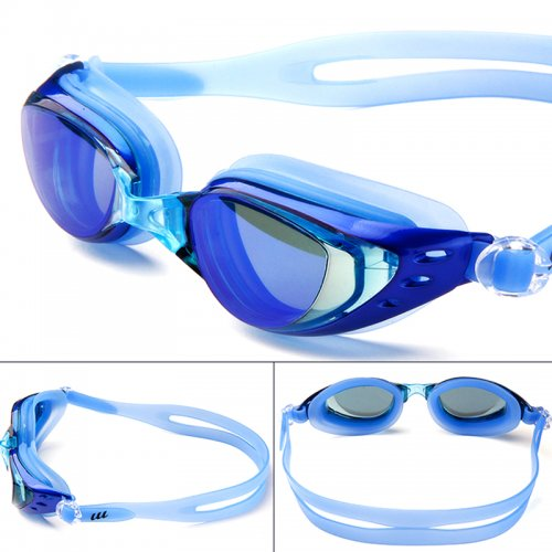 Adjustable Anti Fog Waterproof Glasses Swimming Goggles - Navy Blue