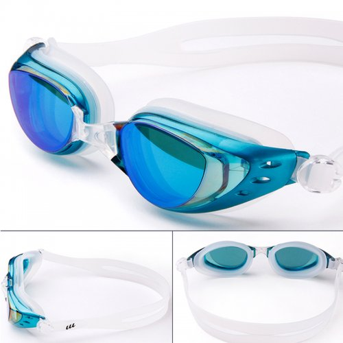 Adjustable Anti Fog Waterproof Glasses Swimming Goggles - Light Blue
