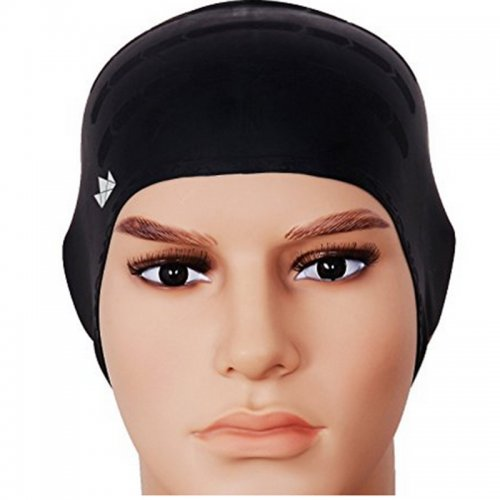 Universal Flexible Stretch Elastic Swimming Cap  Swim Hat - Black