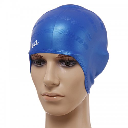 Universal Flexible Stretch Elastic Swimming Cap  Swim Hat - Blue