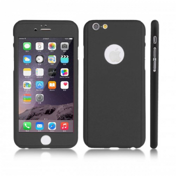 360 Degree Full Coverage Tempered Glass Case for iPhone 6 Plus - Black