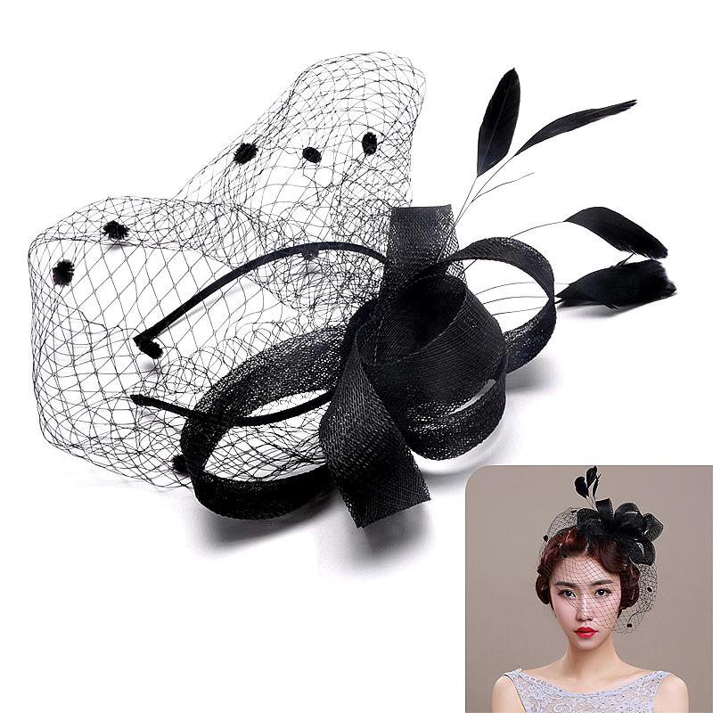 Women's Bride Mini Feather Dress Hat Glitter Lace Headress
