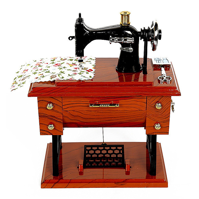 Vintage Mini Sewing Machine Style Music Box Toy Gift for Kid Children
