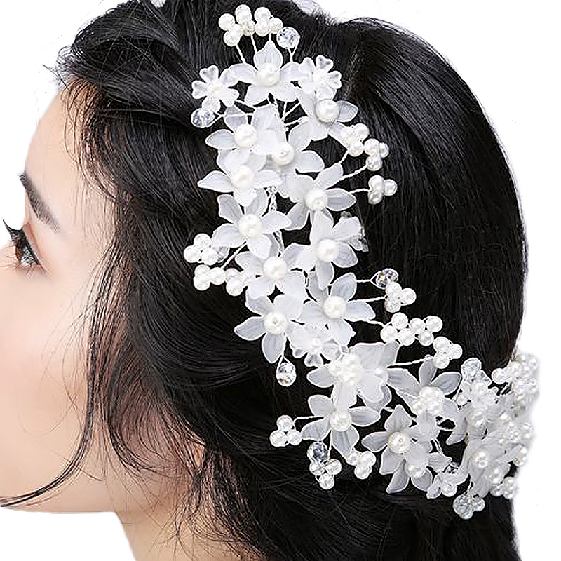 Women Girl's Wedding Flower Bride Crystal Hair Band with Pearl Garland