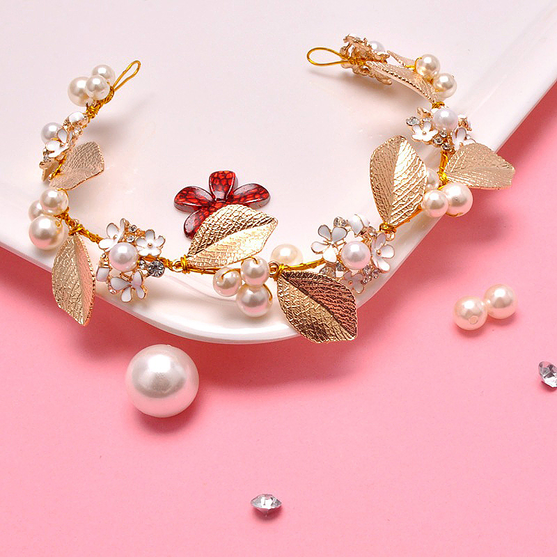 Women Pearl Leave Flower Hairband Wedding Headwear Hair Accessories