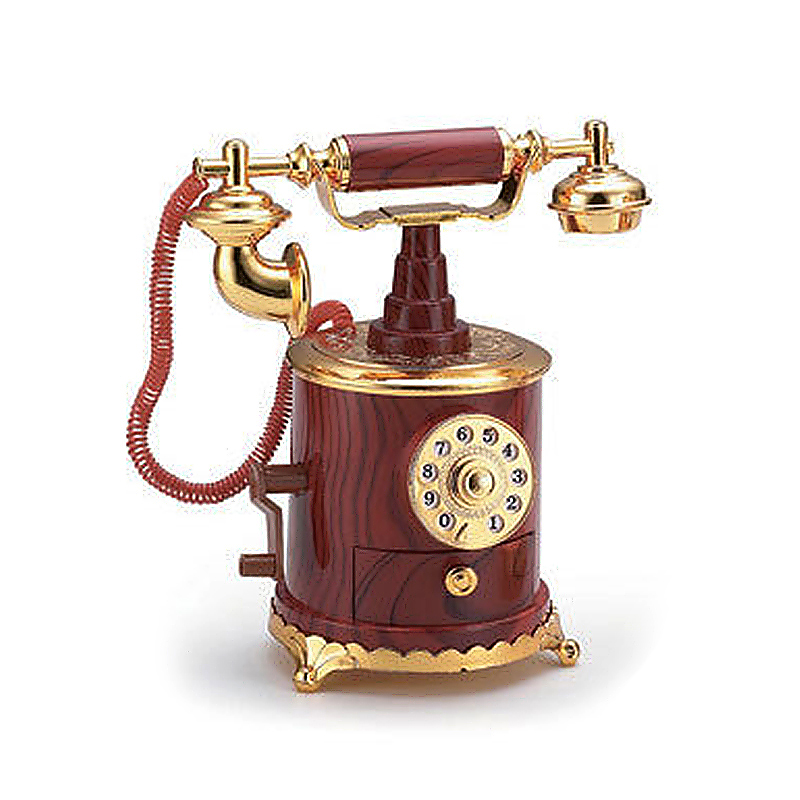 Vintage Dial Telephone Mechanical Music Box Gift Toy for Kids - Wooden