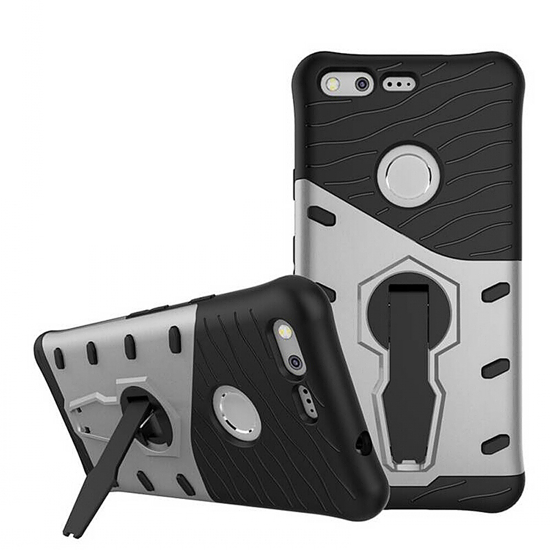 Armor PC + TPU Hybrid Case Cover with Kickstand for Google Pixel - Silver