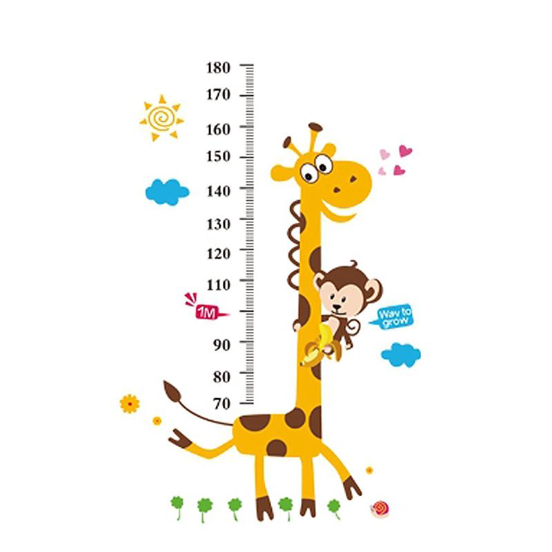 Giraffe Children Height Chart Wall Stickers Nursery Home Decals