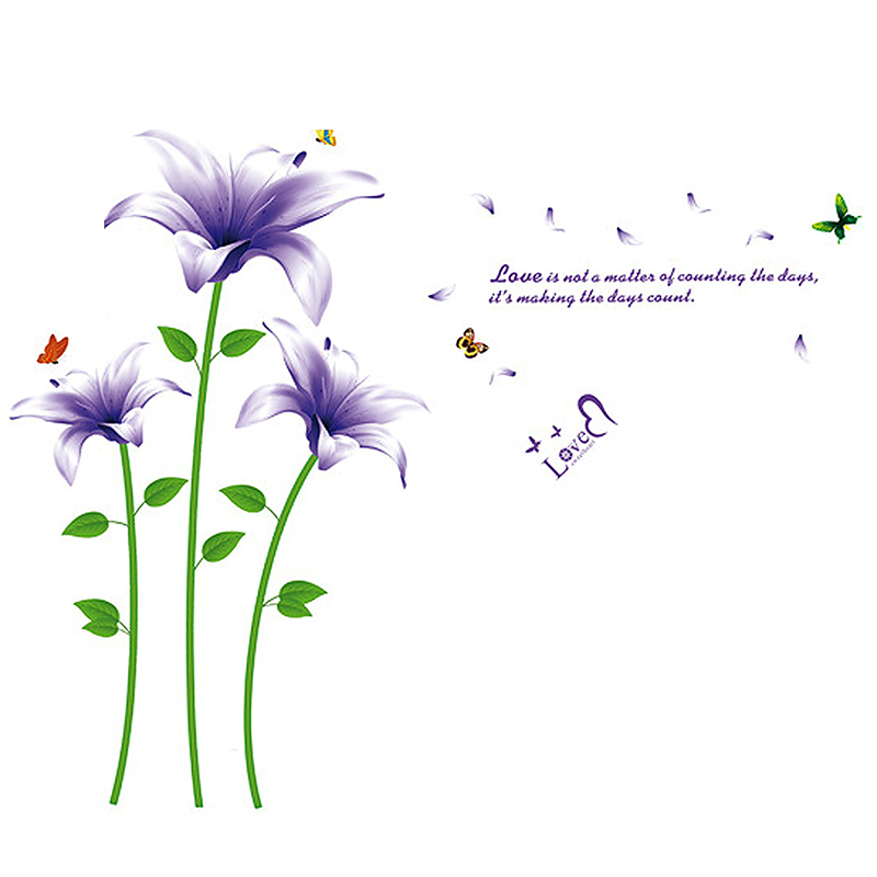 Purple Lily Flower Home Room Mural Decal Wall Sticker