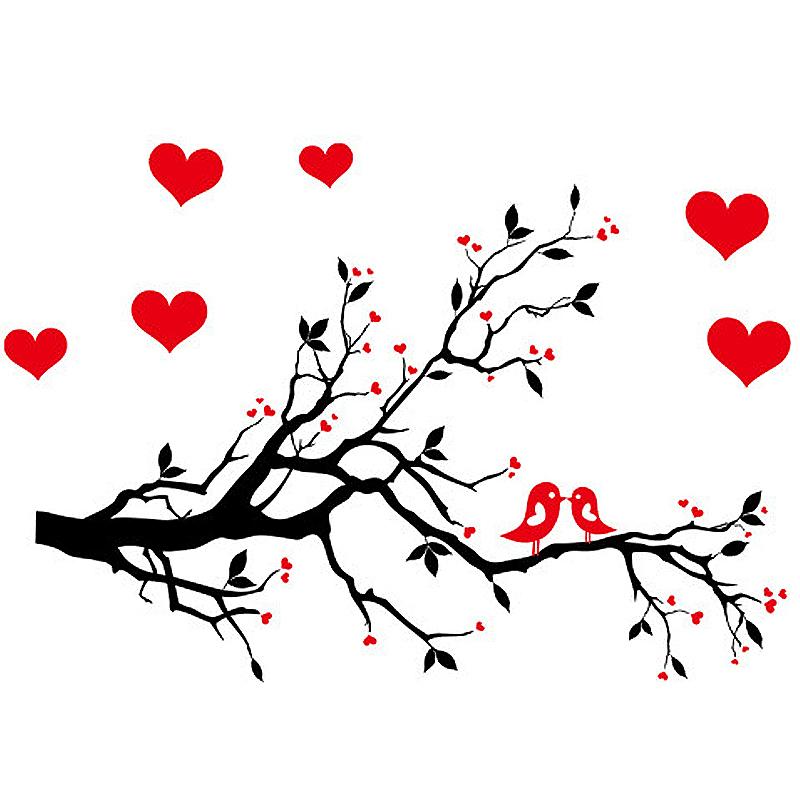 Love Heart Tree Branch Bird Room Decor Decal Wall Sticker
