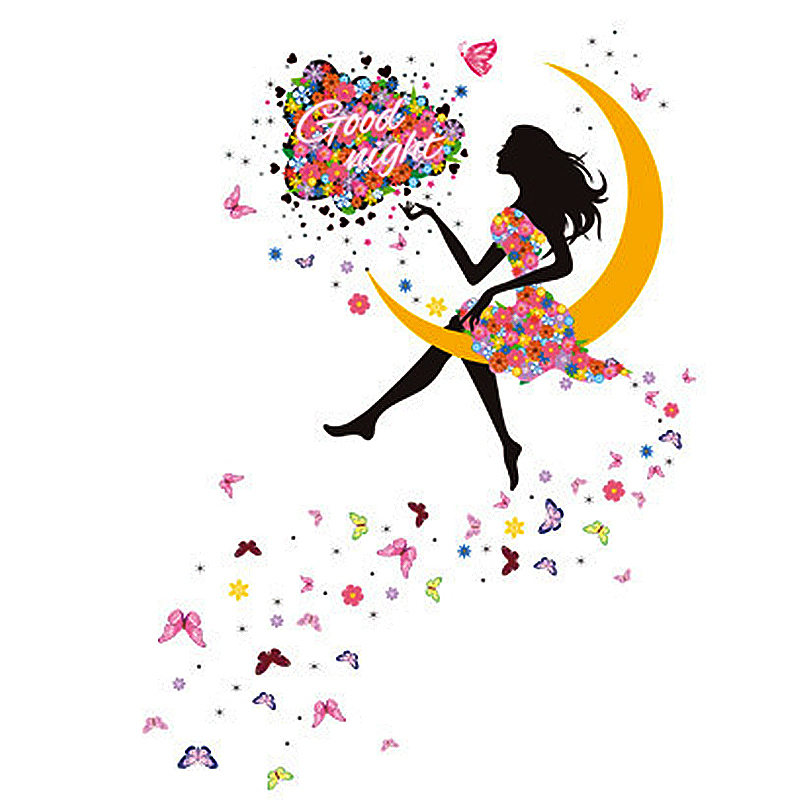 Girl Princess Moon Butterfly Good Night Wall Sticker