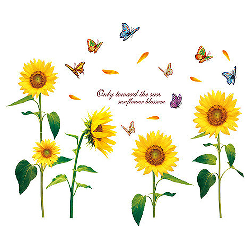 Beautiful Big Sunflower with Colorful Butterflies Pattern Home Wall Decor