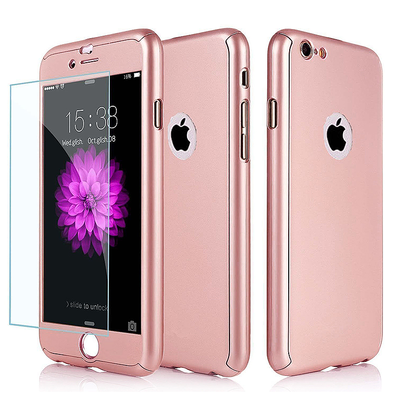 Full Cover Protection Thin Case Cover + Tempered Glass for iPhone 6 4.7 - Rose Gold