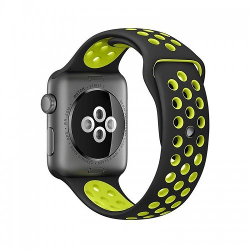 Silicone Replacement Wrist Strap Bracelet for Apple Watch 38mm - Black + Yellow