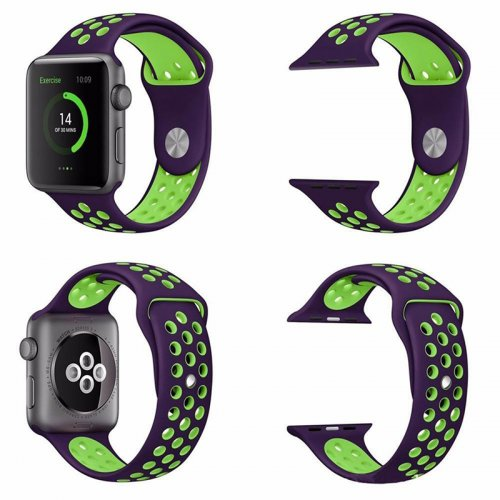 Sports Replacement Band Wrist Strap for Apple Watch 42mm - Purple + Green
