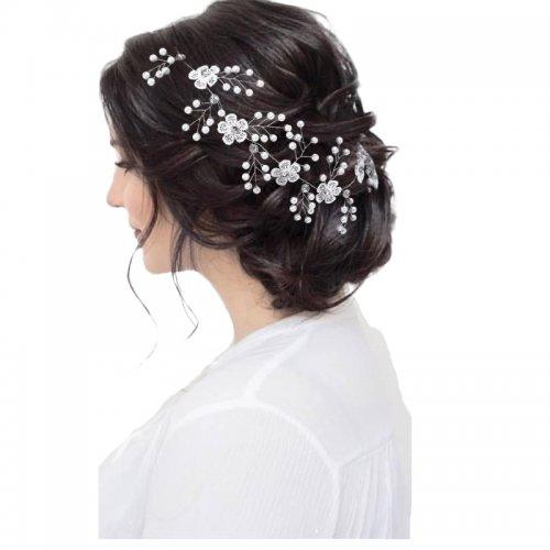 Luxury White Pearl Beautiful Crystal Bride Headdress Headwear
