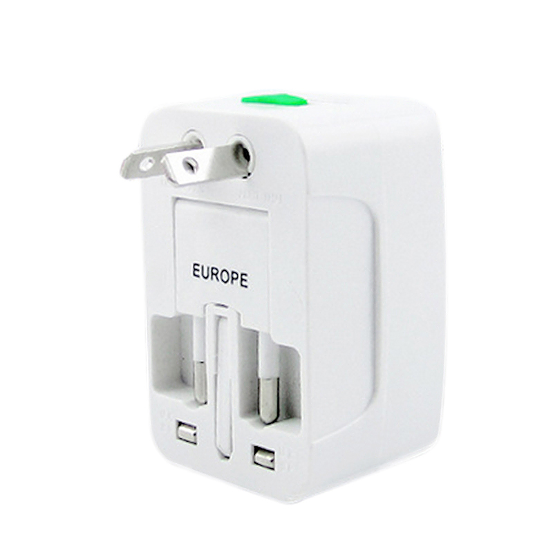 Portable All in One Universal Plug AC Charger Travel Power Adapter - White