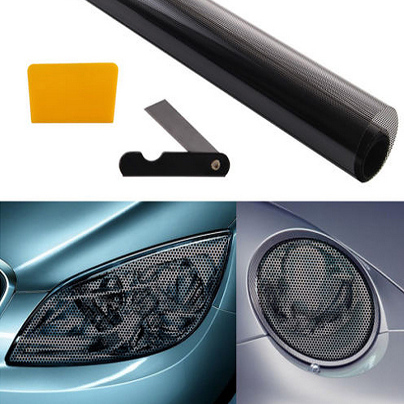 Car Headlight Tinting Double Sided Membrane Perforated Film - Black with White
