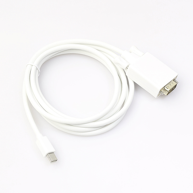 1.8m Mini DP Male to VGA Male Adapter TV AV Audio Cable
