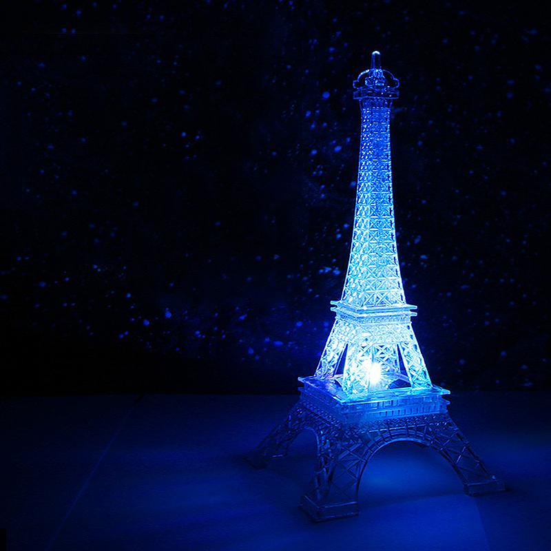 Big Size Multi Color Eiffel Tower Desk Bedroom LED Lamp Night Light Room Decor