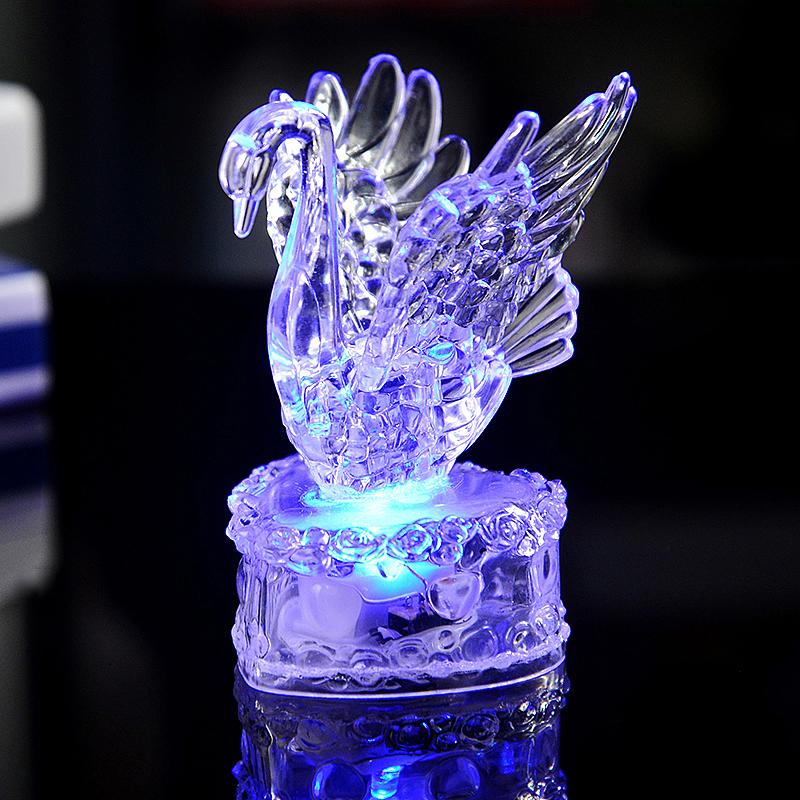 Swan Shaped Multi Color Night Light Desk Bedroom LED Lamp Home Decor