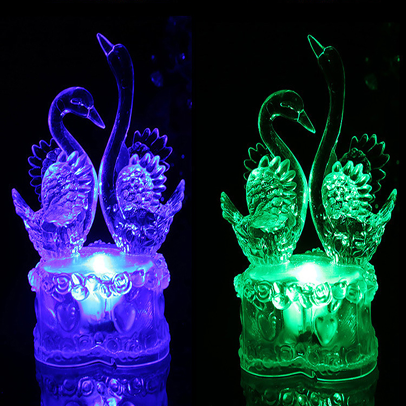 Couple Swan Shaped Multi Color Night Light Desk Bedroom LED Lamp Home Decor