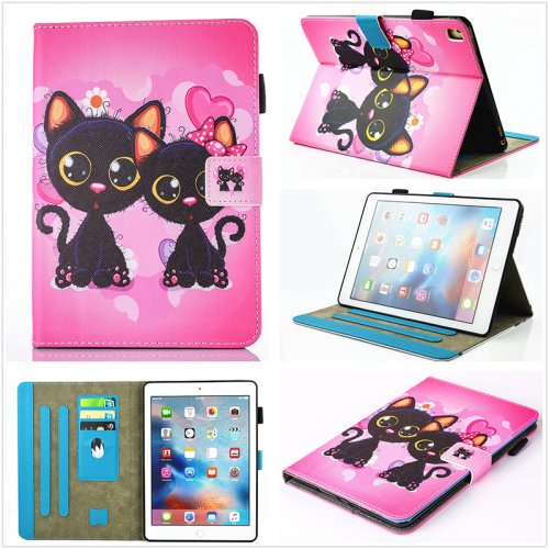 Multifunctional PU Leather Smart Cover Stand Case for 9.7 inch iPad Pro - Cats