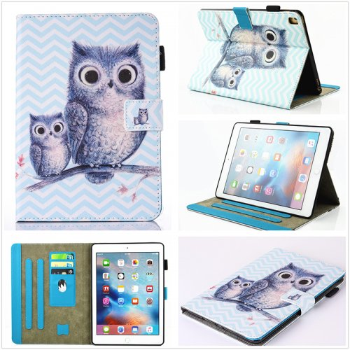 Multifunctional PU Leather Smart Cover Stand Case for 9.7 inch iPad Pro - Blue Owl