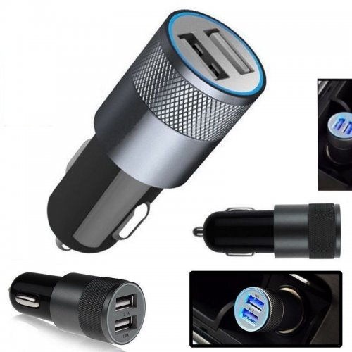 Universal Dual 2 Port USB 12V Car Charger - Gray