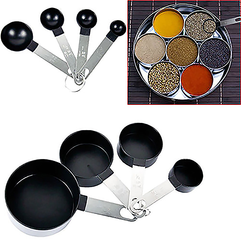 8Pcs Stainless Steel Measuring Cups Spoons Teaspoon Kitchen Cooking Tool