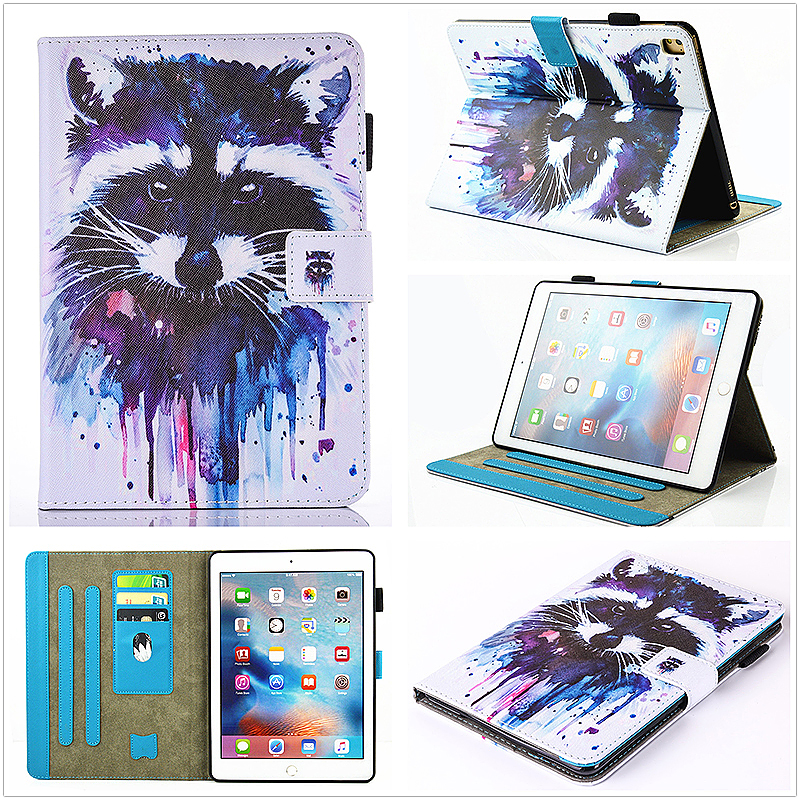 Multifunctional PU Leather Smart Cover Stand Case for 9.7 inch iPad Pro - Raccoon