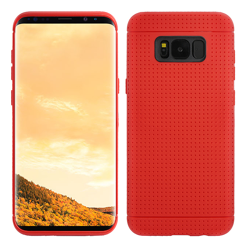Slim Honeycomb Dot Cover Soft TPU Back Case for Samsung Galaxy S8 - Red