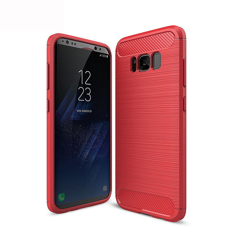 Samsung Case Shockproof Slim Soft TPU Phone Cover for Samsung Galaxy S8 - Red