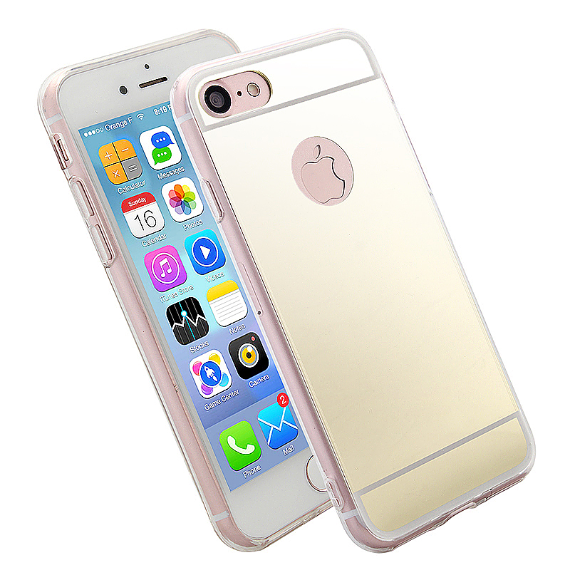 Mirror Soft TPU Cover Back Phone Case for iPhone 6 / 6S 4.7 inch - Gold