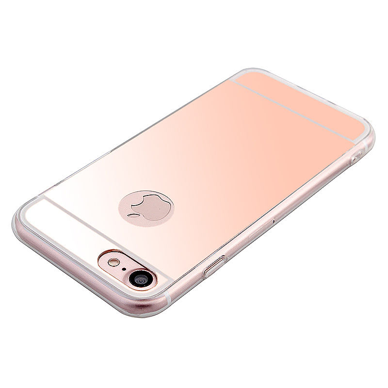 Mirror Soft TPU Cover Back Phone Case for iPhone 6 / 6S 4.7 inch - Rose Gold