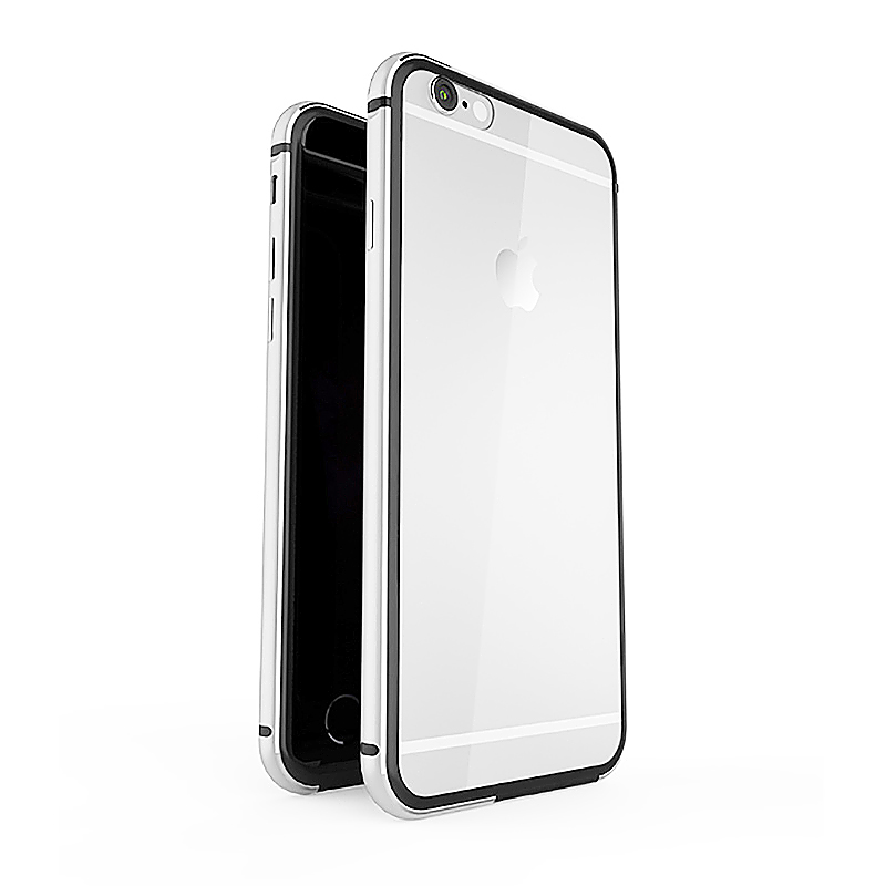 Ultra-thin Aluminum Frame + Clear Back Acrylic Case for iPhone 6 6S Plus - Gray