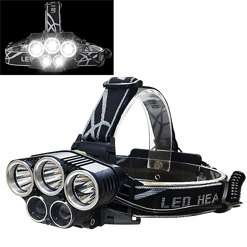 Adjustable 5Pcs T6 LED White COB Headlamp USB Rechargeable Headlight