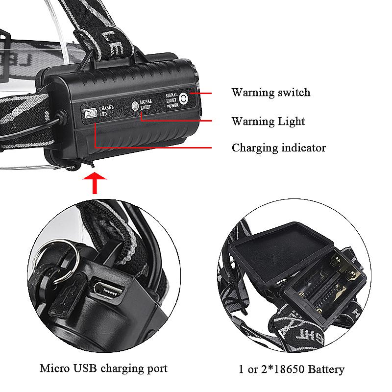 Adjustable 5Pcs T6 LED White COB Headlamp USB Rechargeable Headlight