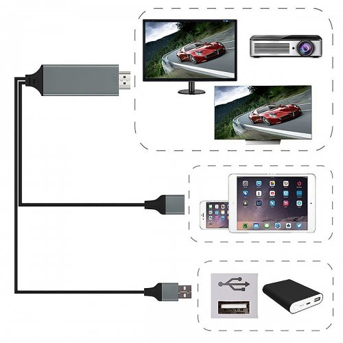HD 1080P 8 Pin  Micro USB to HDMI Adapter Converter for iPhone Samsung - Black