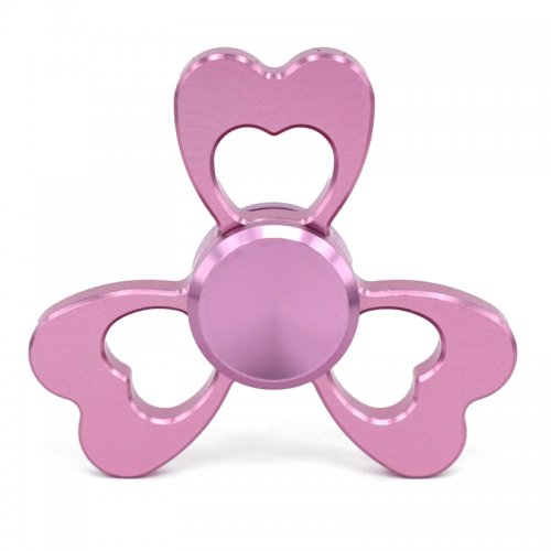 Heart Shape Hand Fidget Tri-Spinner Alloy Finger Spinner Gyro EDC Focus Toy - Pink