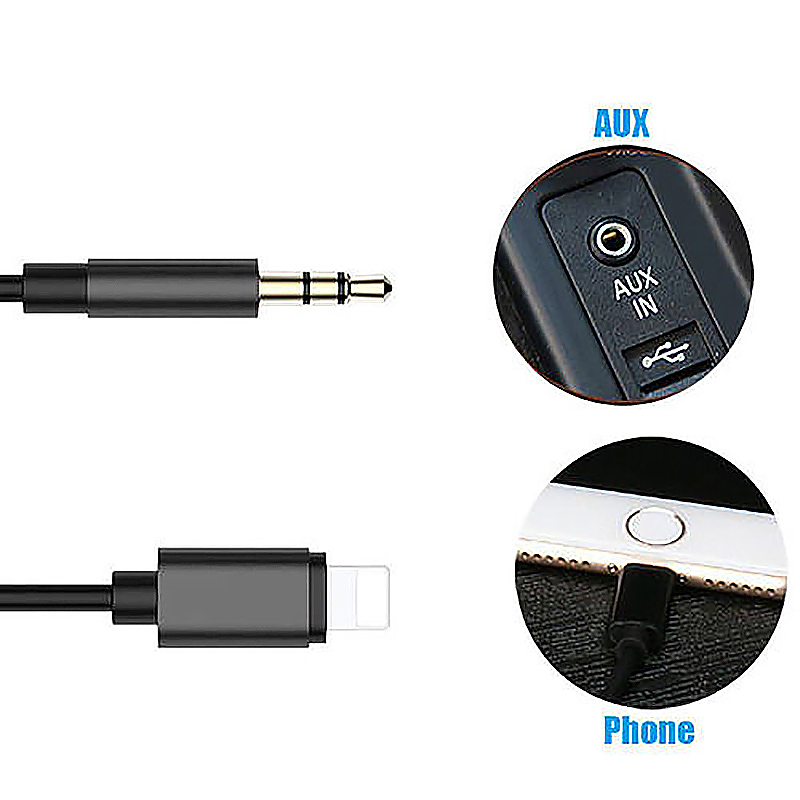 8 Pin to 3.5mm Male Jack AUX Audio Stereo Adapter Cable Compatible with Latest iOS 12.1.4 - Black